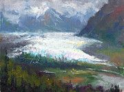 Blue And Green Paintings - Shifting Light - Matanuska Glacier by Talya Johnson