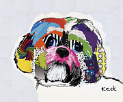 Dog Pet Portraits Mixed Media Posters - Shih Tzu  Poster by Michel  Keck