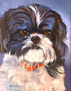 Topknot Art - Shih Tzu Rescued by Susan A Becker