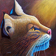 Bobcat Painting Prints - Shine Print by Brian  Commerford