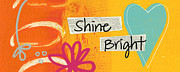 Orange Art Posters - Shine Bright Poster by Linda Woods