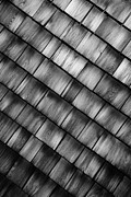 Glenn Wood Framed Prints - Shingles Abstract Black and White Framed Print by Glenn Gordon