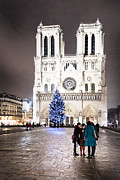 Paris At Night Posters - Shining Star - Notre Dame de Paris at Night Poster by Mark E Tisdale