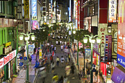 Crowd Scene Art - Shinjuku Street Scene at Night by Bryan Mullennix Photography