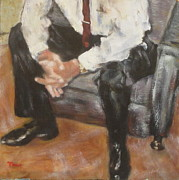 Black Tie Paintings - Shiny man shoes by Timi Johnson