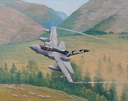 Raf Painting Framed Prints - Shiny Two Flying Low - Tornado GR4 Framed Print by Elaine Jones