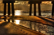 Beach Fence Digital Art Posters - Shiny Water Under The Pier Poster by Michael Thomas