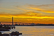 Ambassador Prints - Ship Approaches Ambassador Bridge at Sunset Print by Bill Woodstock