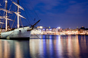Luxury Art - Ship at night in Stockholm by Michal Bednarek