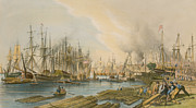 Ship Building At Limehouse Print by William Parrot