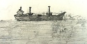 Shipping Drawings - Ship Cyprus by Anita Dale Livaditis