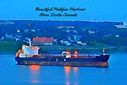Halifax Digital Art Posters - Ship in Beautiful Halifax Harbour Poster by John Malone
