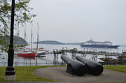 Maine Shore Originals - Ship in Port Bar Harbor Maine by Lena Hatch