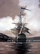 Ship Sailing Into Farsund Norway Prints - Ship in sepia Print by Janet King