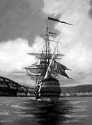 Ship Sailing Into Farsund Norway Posters - Ship in shades of grey Poster by Janet King