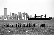 Wtc Center Framed Prints - Ship in the Harbor 1990s Framed Print by John Rizzuto