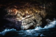 Heavy Weather Prints - Ship In The Night  Print by Todd and candice Dailey