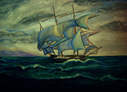 Sanchez Paintings - Ship out to Sea by Manuel Sanchez