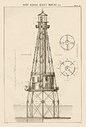 Navy Drawings Posters - Ship Shoal Lighthouse Drawing Poster by Jerry McElroy