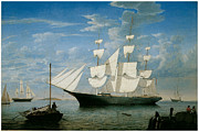 Sailing Vessels Framed Prints - Ship Star Light in Boston Harbor Framed Print by Fitz Hugh Lane