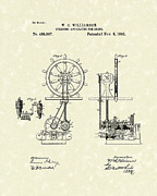 Steering Drawings Prints - Ship Steering 1892 Patent  Print by Prior Art Design
