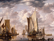 Famous Artists - Shipping in a Calm at Flushing with a States General Yacht Firing a Salute by Jan van de Cappelle