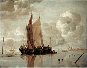 Sailing Ship Prints - Shipping in Calm Waters of an estuary a Harbor Town in the Distance Print by Jan van de Cappelle