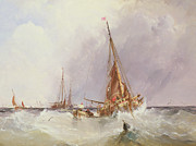 Ship Rough Sea Framed Prints - Shipping in the Solent 19th century Framed Print by George the Elder Chambers