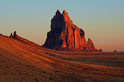 Landforms Posters - Shiprock Golden Light Poster by Bob Christopher