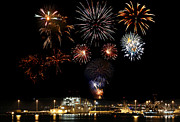 Pyrotechnics Prints - Ships and Fireworks Print by Paul Fell