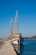 Docked Sailboat Prints - Ships at Lefkada Print by Gabriela Insuratelu
