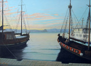 Sailing Ships Originals - Ships at port by Anastassios Mitropoulos