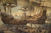 Old Sailing Ship Paintings - Ships At Port by Martin Lacasse