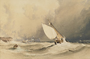 Rough Waters Prints - Ships at sea off Folkestone harbour storm approaching Print by Anthony Vandyke Copley Fielding