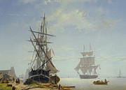 Boats In Water Painting Posters - Ships in a Dutch Estuary Poster by WA Van Deventer