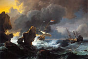 Famous Artists - Ships in Distress off a Rocky Coast by Ludolf Bakhuizen