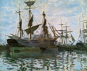 Frigates Painting Prints - Ships In Harbor Print by Claude Monet - L Brown