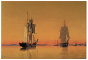 Sailing Vessels Framed Prints - Ships in the Boston Harbor at Twilight Framed Print by William Bradford