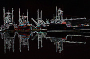 Docked Boat Digital Art Framed Prints - Ships In The Night Framed Print by Kami McKeon