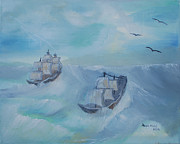 Boats In Water Paintings - Ships in the storm by Dawn Nickel