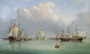 Water Vessels Framed Prints - Ships off Ryde Framed Print by Arthur Wellington Fowles