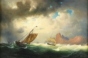 Storm Prints Painting Posters - Ships on stormy Ocean Poster by Pg Reproductions