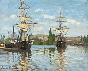 River View Posters - Ships Riding on the Seine at Rouen Poster by Claude Monet