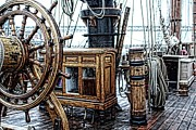 Sailing Ship Mixed Media Prints - Ships Wheel And Compass Cabinet Print by Don Bendickson