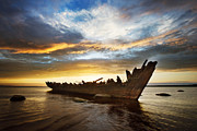 Wooden Pyrography Posters - Shipwreck at sunset Poster by Anna Grigorjeva
