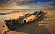 Schooner Framed Prints - Shipwreck On Cape Cod Beach Framed Print by Dapixara Art