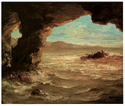 Delacroix Framed Prints - Shipwreck on the Coast Framed Print by Eugene Delacroix