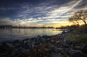Portsmouth Prints - Shipyard Sunrise Print by Eric Gendron