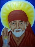 Baba Portrait Paintings - Shirdi Sai Baba by Vimala Jajoo