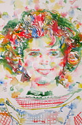 Shirley Paintings - SHIRLEY TEMPLE - watercolor portrait.1 by Fabrizio Cassetta